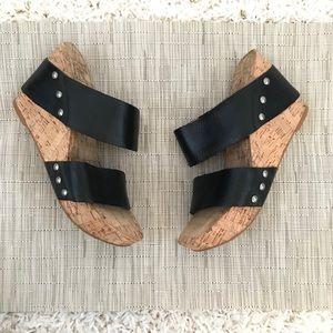 Lucky Brand LK-Magnolia Black Wedge Cork Sandal